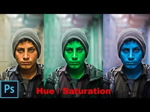 Adjust Specific Colors with Hue & Saturation Photoshop cs6 cc - Photo into Avatar/Hulk/Black & White