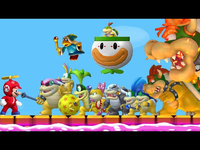 New Super Mario Bros. Wii - All Boss Fights (All Tower, Castle & Airship Bosses) + Final Boss/Ending