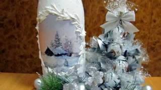 Новогодний декор бутылок шампанского