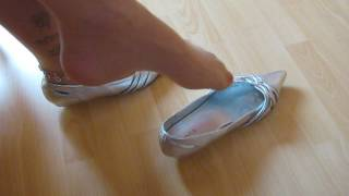 well worn silver kitten heels, nyloed feet shoeplay