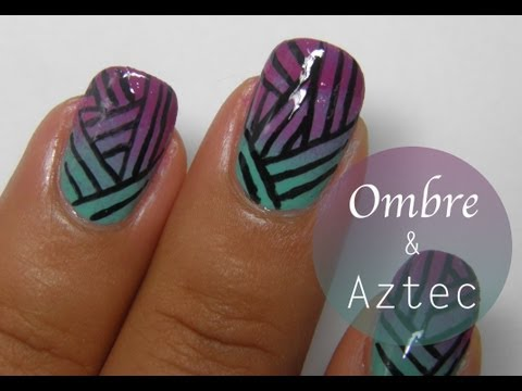 Ombre aztec stripes nail art tutorial