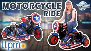 Marvel Avengers Assemble Captain America Motorcycle (12-Volt), Side Car Ride-On | KidTrax