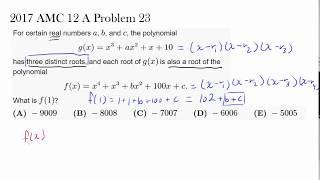 2017 AMC 12 A Problem 23 (Polynomial, Zeros)