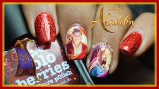 Disney Aladdin Nail Art | Disney | Mena Massoud | Will Smith | DIY Water Decal | Polish Star