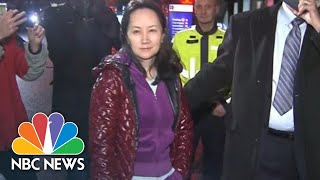 Huawei Executive Wanted By U.S. Dodges Reporters' Questions After Bail In Vancouver | NBC News