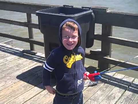Colton's first fish at Dauphin Island, Alabama