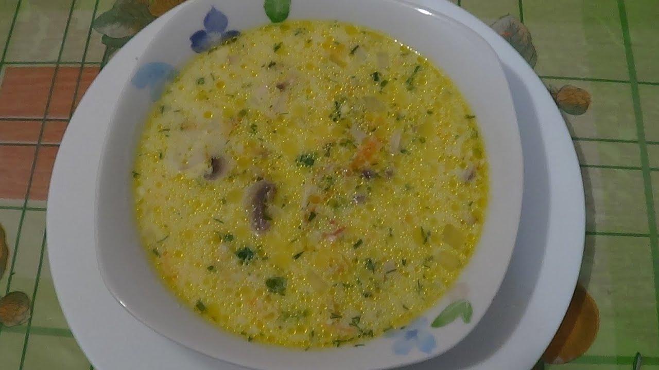 Сырный суп рецепт с курицей и плавленным сыром и грибами с пошагово в