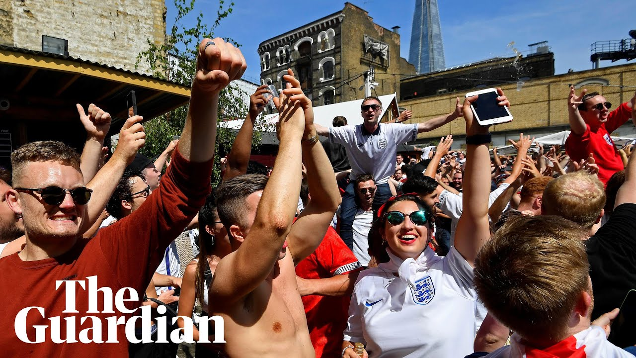 England fans celebrate the side's 6–1 World Cup win over Panama