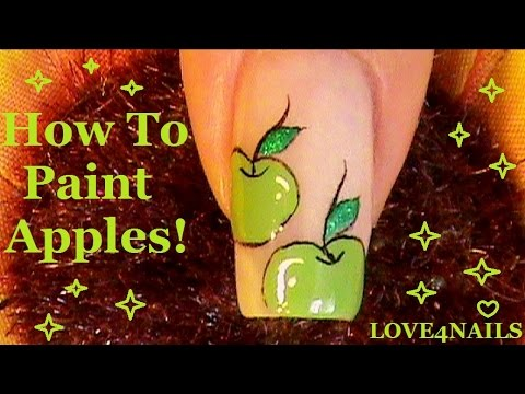 Back To School Nail Art Design Tutorial ~ Apples!