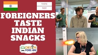 Foreigners Taste Spicy Indian Snacks | Indian Snacks Taste Test | Desi in Foreign