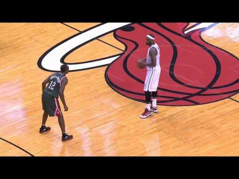4/21/13 - Game 1 Heat vs Bucks - Lebron drives left and finishes with a dunk