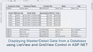 Displaying Master/Detail Data from a Database using ListView and GridView Control in ASP.NET
