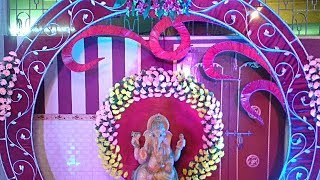 Amazing Ganpati Decoration with Multicolour Artificial Flowers in Entry Gate of Wedding Banquet Hall