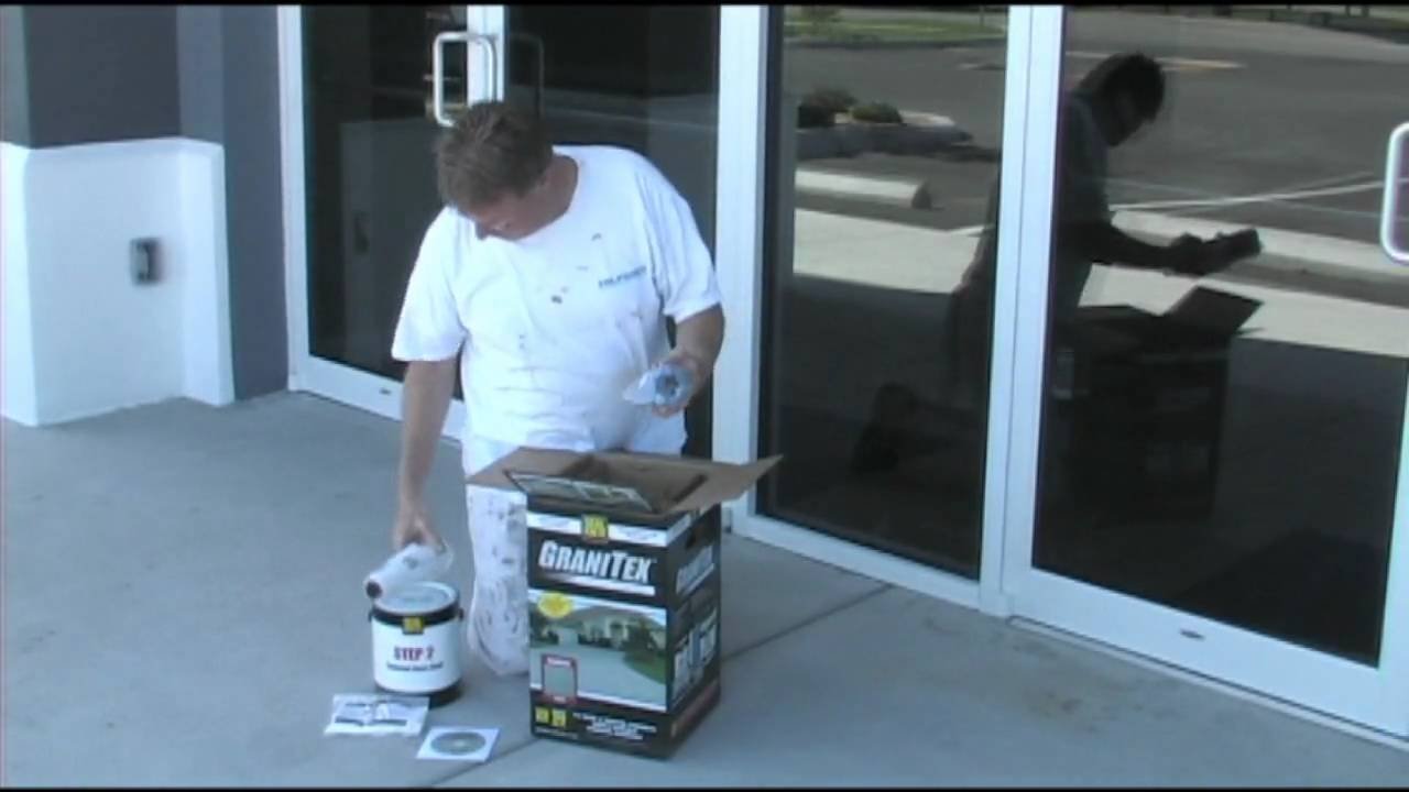 Applying concrete floor coating Granitex from Lowe's - YouTube