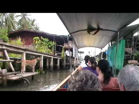Floating market outside Bangkok Thailand