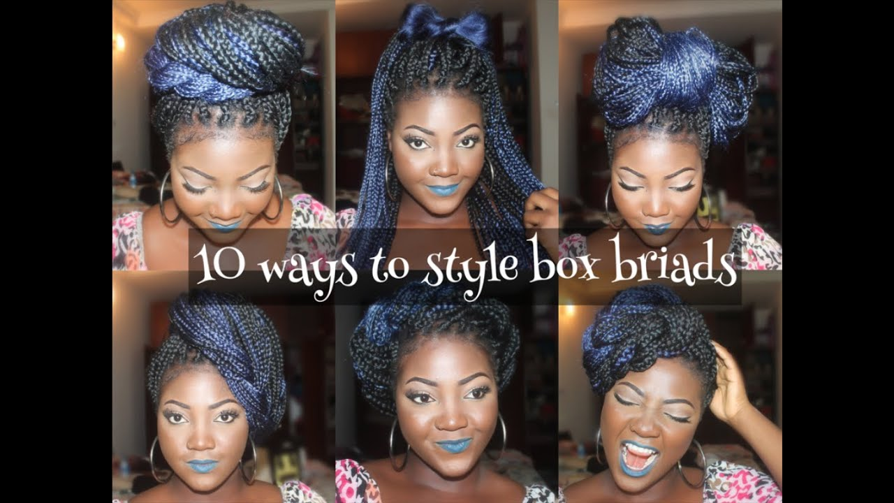 10 different ways to style box braids youtube. Black Bedroom Furniture Sets. Home Design Ideas