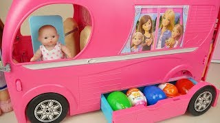 Baby doli and Bus surprise eggs baby doll camping car toy play