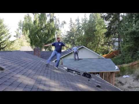 Energetic roofer can't help but samba to Latino music