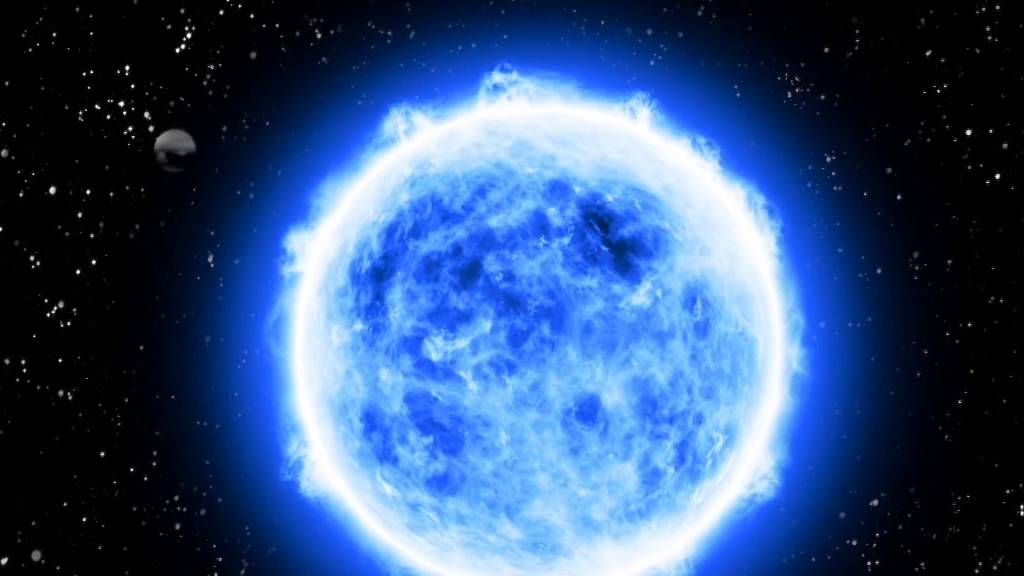 blue giant star in space -#main