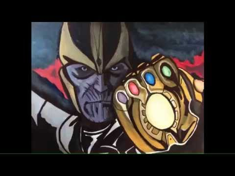 Thanos with the infinity gauntlet time lapse painting