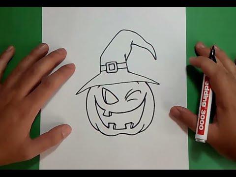 Como dibujar una calabaza paso a paso 5 - Como vaciar una calabaza ...