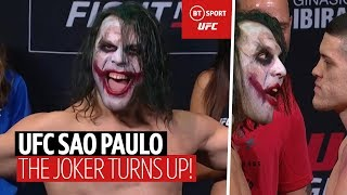 Why so SERIOUS?! The Joker comes on stage at UFC Sao Paulo and faces off! 🤪