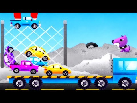 Cars For Kids Over the Trucks and Police Car is Helping to Sent on the Garage - Gertit Plays Game