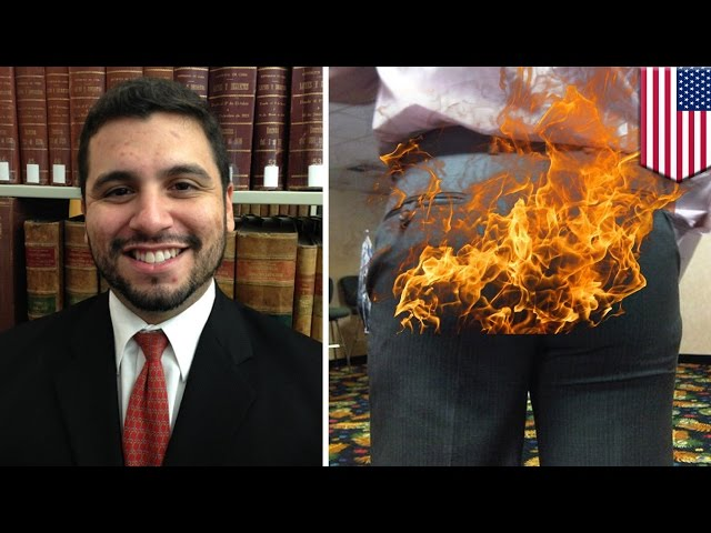 Pants on fire: Miami lawyer's pants erupt into flames during arson trial - TomoNews