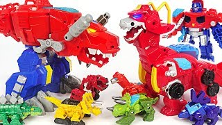 Save the dinotrux! Transformers Rescue Bots giant dinosaur Optimus Primal, Heatwave! #DuDuPopTOY
