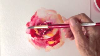 Red Rose watercolor tutorial how to paint fast and easy
