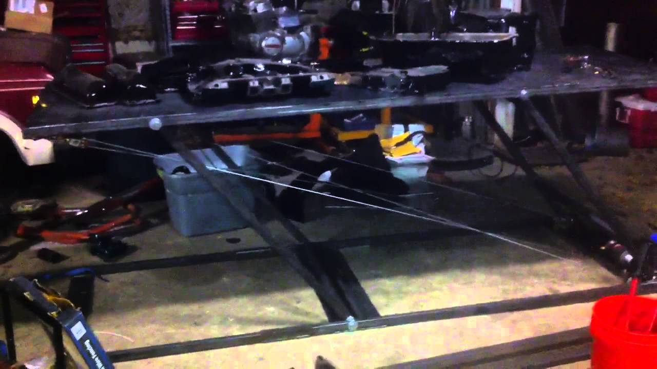 Homemade Motorcycle Lift Table Winch Powered Youtube