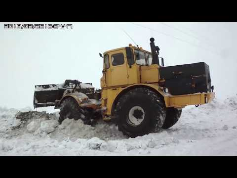 Трактор КИРОВЕЦ. Как выехать, если серьезно застрял в снегу, (один из способов)
