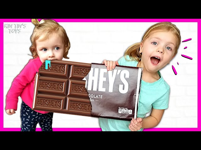 Kin Tin Staged a GIANT CHOCOLATE CHALLENGE  Giant Candy vs Normal Sized Candy  Candy Haul