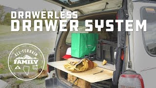 DIY Drawer less Drawer System for SUV from single sheet of Ply Wood for overlanding and camping