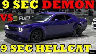 950 HP DEMON vs 1000 HP HELLCAT - 1/4 mile Drag Race - Road Test TV