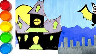 Scary Haunted House Coloring and drawing for Kids, Toddlers | JoJo Toy Art ☆