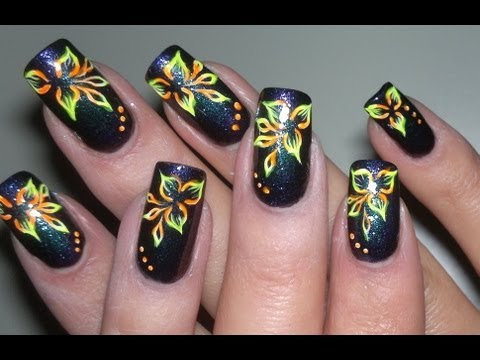 Two In One nail art, make a white floare in to neon flower