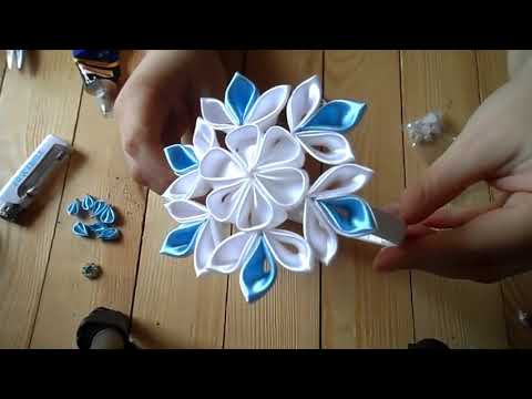 Новогодняя Снежинка . Ободок для волос Канзаши / Christmas Snowflake . Headband Hair Kanzashi