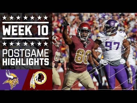 Vikings Vs Redskins Nfl Week 10 Game Highlights