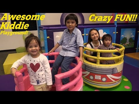 Toddlers and Children's Indoor Playground Playtime Fun! Kiddie Slide, Trampoline, etc.. Fun 2015