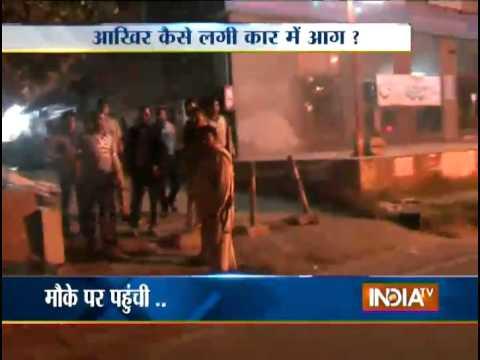 Fire engulfs Maruti car at market in UP's Firozabad