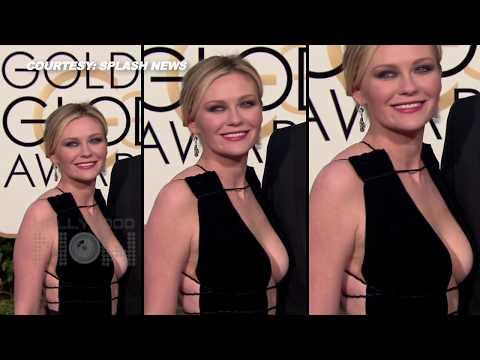 2016 Golden Globes: Kirsten Dunst DEEP CLEAVAGE Show