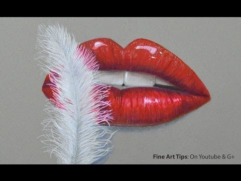 How to Draw Glamorous Lips and a Feather - Red lips - Como desenhar lábios glamurosos e uma pena