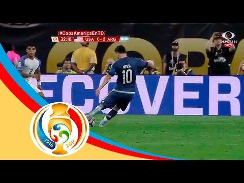Gol de Lionel Messi   USA 0 - 2 Argentina   Televisa Deportes