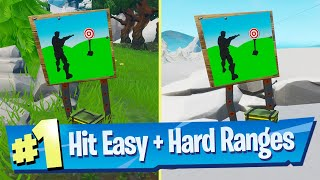 Hit Easy Firing Range Target + Hit Hard Firing Range Target Location - Fortnite Bullseye Challenge