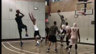 LeBron, KD, Carmelo, JR Smith - sick practice game! (Offseason 2017)