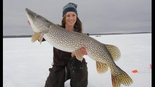 Girls Ice Fishing and cought a big fish - Ice fishing video