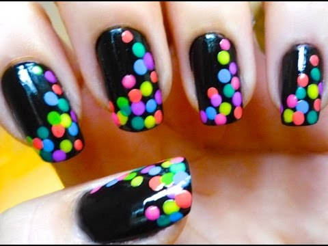 Spotted Black and Colorful Nails - Nail art 2013 Trends