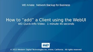 WD Arkeia: How to \