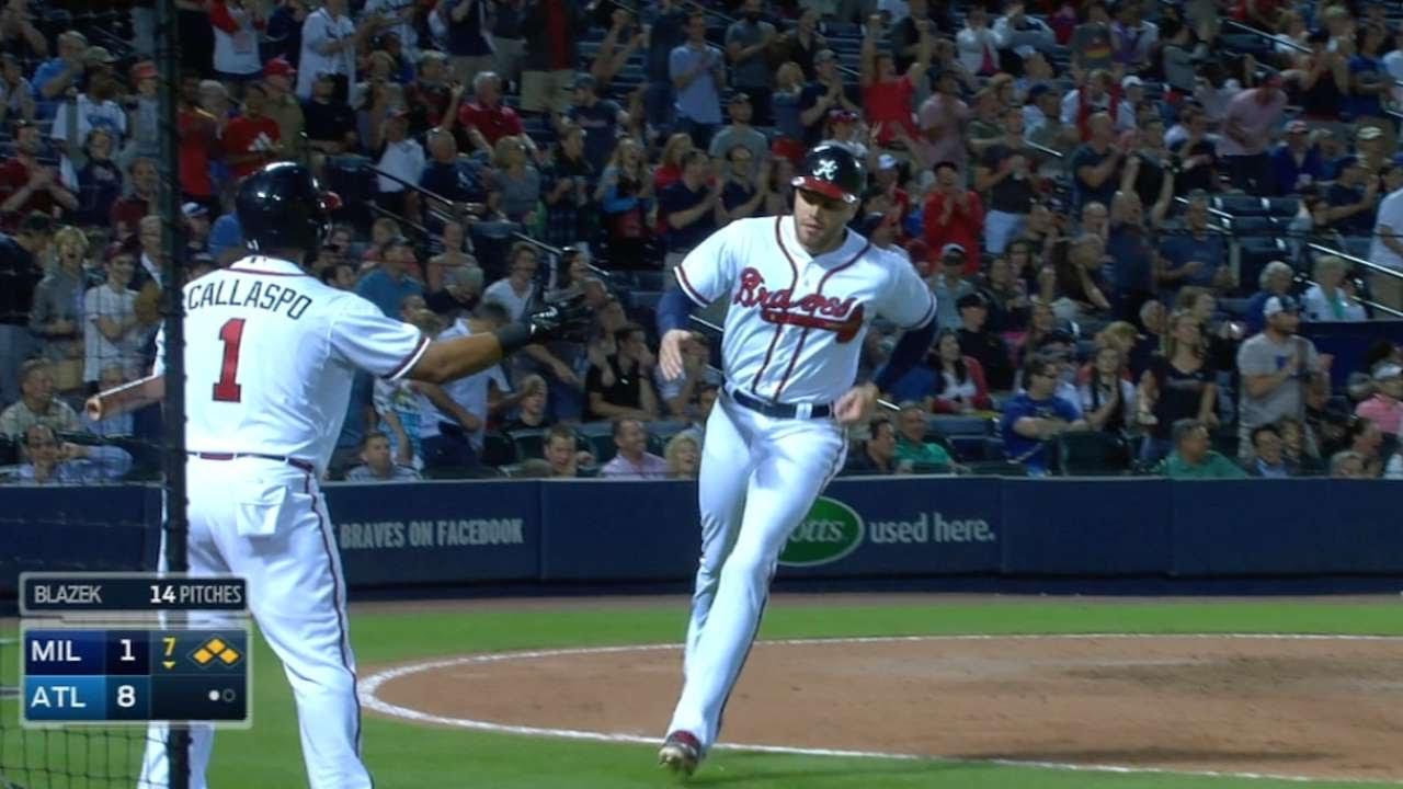 MIL@ATL: Braves get seven hits, seven runs in 7th